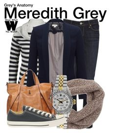 """""""Grey's Anatomy"""" by wearwhatyouwatch ❤ liked on Polyvore featuring Armani Jeans, Paige Denim, Monsoon, Lamberto Losani, Rolex, Francesco Biasia, Converse, television and wearwhatyouwatch"""
