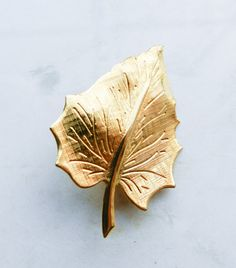 Vintage Gold Leaf Brooch by OnAWhimsyTheStore on Etsy