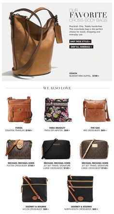 The perfect on-the-go bag: bestselling cross-bodies -- Love the top bag.