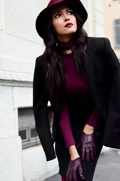 Gorgeous and sophisticated!! Plum hat, lips, blouse, and gloves with black jacket and pants