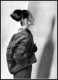 Model in evening jacket of Lutetia EMBA mink by Christian Dior, photo by Guy Arsac, 1962 | Flickr - Photo Sharing!