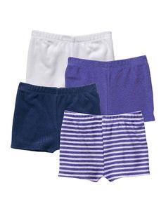 4 shorts de felpa bebé niño 3 a 36 meses AZUL MEDIO LISO