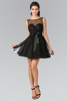 Short Illusion Babydoll Dress with Bow by Elizabeth K GS1459