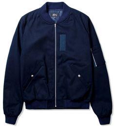 A.P.C. Navy Blue Classic Bomber Jacket