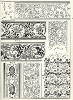 Scrollwork for borders and trim, can be used in illumination, embroidery, leather tooling Border Pattern, Pattern Art, Pattern Design, Leather Tooling Patterns, Leather Pattern, Art Nouveau, Scrapbook Blog, Leather Carving, Carving Designs