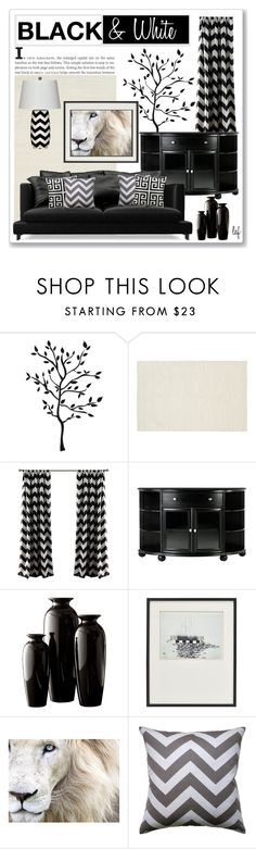 """""""It's All Black & White . . ."""" by lois-boyce-flack ❤ liked on Polyvore featuring interior, interiors, interior design, home, home decor, interior decorating, Chandra Rugs, Home Decorators Collection and Crate and Barrel"""