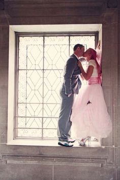 beautiful pink hair bride - amazing shoes - on both bride and groom! (This cracks me up. Why were the pictures so much better than the marriage?!)