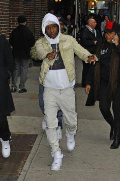 A$AP Rocky wearing Nike Air Force 1 High