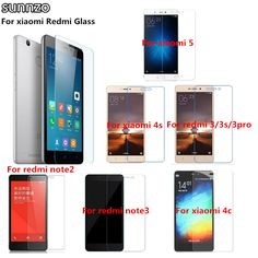 SUNNZO Tempered Glass Film High Quality Screen Protector Glass Film For Xiaomi Redmi Mi 3/3S/3Pro/4/4C/4i/4S/Note2/Note3/5