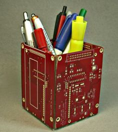 Geek Craft Red Recycled Circuit Board PENCIL Holder pbz6 by DebbyAremDesigns for $35.50