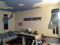 Minecraft room making progress - like the ceiling in this room Minecraft Bedroom Decor, Minecraft Room, Minecraft Stuff, Minecraft Beads, Minecraft Decorations, Bedroom Images, Bedroom Themes, Kids Bedroom, Kids Rooms