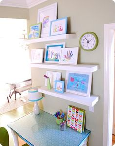 I would love to add this to my kids playroom. childrens art display