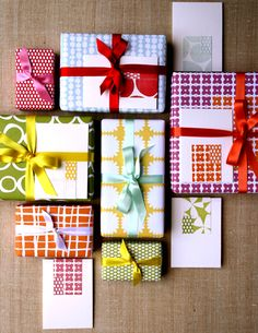 patterned paper + ribbon gift wrap