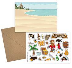 Bastelset Für Eine Einladung Zur Piratenparty | DIY Einladungskarte Für Den  Seeräuber Kindergeburtstag
