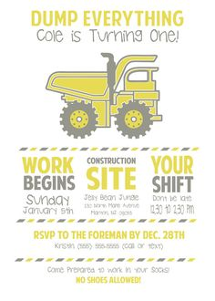 CUSTOM Little boy DUMP TRUCK - Birthday Party Invitations-- construction birthday -- made to order on Etsy, $11.25