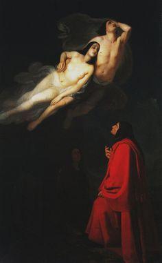 Giuseppe Frascheri - Dante e Virgilio incontrano Paolo e Francesca, 1846