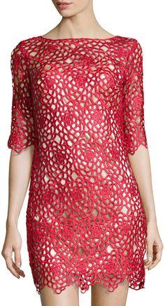 JAX Open Floral-Lace Sheath Dress, Ruby