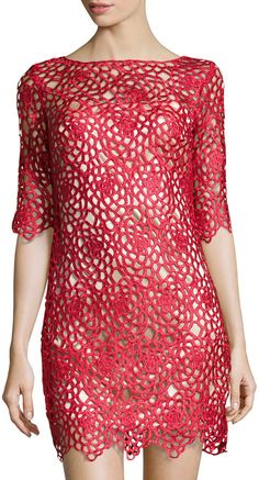 ★ Fiery Red ★ JAX Open Floral-Lace Sheath Dress, Ruby is on sale now for - 25 % !