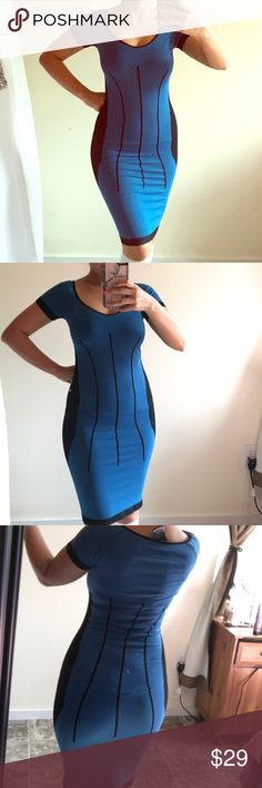 BEBE COLORBLOCK DRESS BLUE AND BLACK Looks new. Bebe bodicon dress label says small but is very stretchy. Can fit an XS , small or medium. Great for work or events. It falls above knee. Ships fast. 5 star seller! No low ball offers. Discounted 50% or more. bebe Dresses Midi