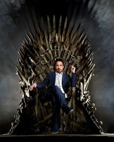 A Stark on the Iron Throne. Hah! [Funny Pic] #TonyStark #IronMan #GameofThrones