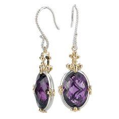 Tivolia Collection 14K Two Tone Amethyst Fleur de Lis Dangle Oval Earrings