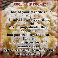 Easy cookie recipe for any time of the year . Can be made with sugar free cake mix and sugar free cool Whip! Cool Whip Cookies, Cake Mix Cookies, Yummy Cookies, Cookies Et Biscuits, Cupcakes, Crinkle Cookies, Super Cookies, Cookies Soft, Baking Cookies