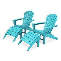 South Beach Plastic Folding Adirondack Chair with Ottoman Color: Aruba Pool Furniture, Best Outdoor Furniture, Outdoor Seating, Outdoor Chairs, Chair And Ottoman Set, Patio Design, South Beach, Detergent Bottles