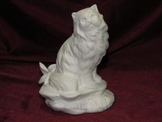 Ceramic Bisque Persian, Himalayan, Kashmire Cat on a Rock Base U Paint  #CeramicBisque