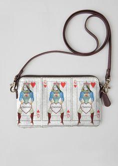 Custom designed, printed & custom made Queenie clutch purse. #shopvida #LindaHughes #vintageStyle #Vintage #QueenOfHearts #Queen #alice #shopvida