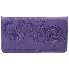 """I Can Do Everything Philippians 4:13 Checkbook Cover by Christian Art. $9.99. Checkbook cover in purple features embossed design and Scripture from Philippians 4:13: """"I can do everything through Him who gives me strength."""" Other features include: inside slip pocket, three credit card slots, ID window, pen loop, and a plastic divider for duplicate checks. 6 3/4"""" x 3 3/4"""""""