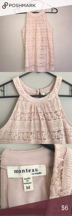 High Neck Lace Top Like new! Gorgeous lace high Neck lace top. Keyhole Button back. Fully lined. Beautiful blush color. I can usually ship same/next day! Check out my closet for more great items! BUNDLE & SAVE! Make an Offer! Monteau Tops Blouses