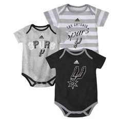 Newborn San Antonio Spurs adidas Black 3-Point Play Creeper Set