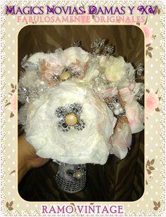 Ramo de Novia o Quinceañera, Hecho a mano, en Mexicali,B.C. By Mony Queen. En Magics Novias y Quinceañeras Tienda #ramo #bouquet #novia #bride #quinceañera #xv #hechoamano #handmade #mexicali #mexico #vintage #rustic #magic #original #lace #encaje #fabric #floral #magics #fairytale #wedding #boda #bridal #nupcial #glam