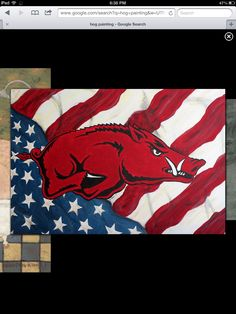 Razorback Canvas, Razorback Painting, Razorback Baby, Arkansas Razorbacks, Funny Wood Signs, Wood Pallet Signs, Pallet Art, Cute Crafts, Crafts To Make
