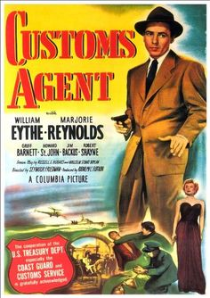 Film Noir Movie Poster Customs Agent by R Muirhead Art Old Movie Posters, Movie Poster Art, Film Posters, Vintage Posters, Theatre Posters, Music Posters, Classic Film Noir, Classic Movies, Old Movies