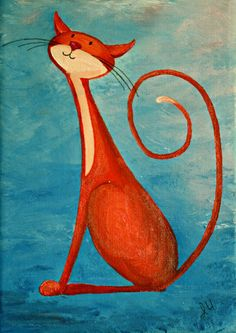 "Original Cat Painting for Sale : Fantasy Cats ""Daydreaming Cat in Orange"""