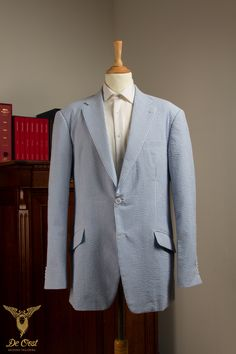 The ultimate summer suit is probably the Seersucker Suit. Crispy cotton for breathability and an amzing fresh display due to the 2 tone fabric combining white and sky blue.