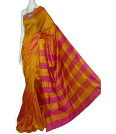 Yellow Handpainted Murshidabad Silk Saree