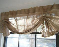 Burlap Window Valance 36 108 W X 14L 'The by CurtainsByJackieDix