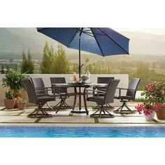 Member's Mark Agio Fremont 8-Piece Round Dining Set - Sam's Club Outdoor Seating, Outdoor Rooms, Outdoor Dining, Outdoor Decor, Patio Dining, Outdoor Furniture, Porch Furniture, Modern Furniture, Coaster Furniture