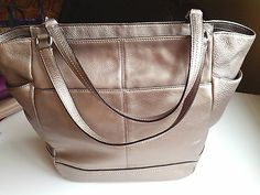 Brand New Coach Park Leather Carrie/Tote/Shopper - Pewter/ Silver, F23284 NWT.