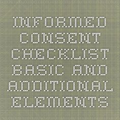 Informed Consent Checklist - Basic and Additional Elements Informed Consent, Clinical Research, Math, Math Resources, Mathematics