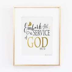 Embark in the Service of God Wall Art | Girls Camp | LDS Youth | Black and Gold | Anchor