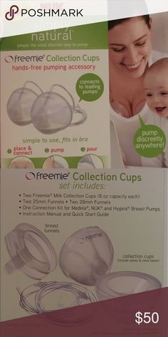 Nuk Freemie Collection Cups~Maternity~NEVER USED Collection cups and adapters for medela, nuk, and hygeia breast pumps. I opened the products, boiled them, and couldn't get them to connect to my Freestyle Medela pump without major modifications. I was so excited to use these, but I love my pump more and am not willing to modify my pump. NUK Other