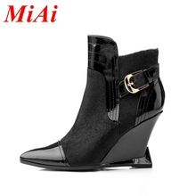 2015 new autumn women boots leather pointed toe zipper casual boots women wedge heel boots black women boots platform 34-39(China (Mainland))