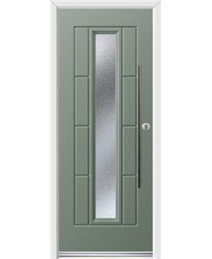 Ultimate Vermont Rockdoor in Chartwell Green with Gluechip Glazing and Bar Handle