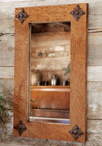 Rustic Ranch Tooled Leather Mirror-Maybe make something similar to this?? Wrap with leather and decorate.