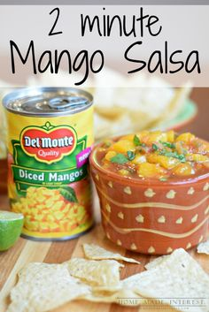 Save time with this quick 2-minute mango salsa recipe. Mix mangos with your favorite salsa add any extras you like to make the salsa recipe all your own. Perfect as an appetizer, party food, or just a healthy snack.  homemadeinterest.com  #makemangosalsa #PMedia #ad @delmontebrand