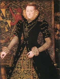 """""""Portrait of Margaret Audley, Duchess of Norfolk."""" Hans Eworth. 1562.  Head-covering has receded to back of head into almost a mini-French hood with a small curved front. Front/side hair rolls remain from previous transitional style under Mary I."""