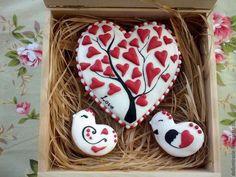 Кулинарные сувениры ручной работы. Ярмарка Мастеров - ручная работа. Купить Пряник имбирный Сердце. Handmade. Разноцветный, елка, птички